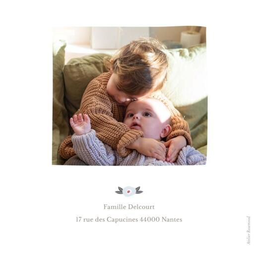 Faire-part de naissance Ruban de fleurs 5 photos rose