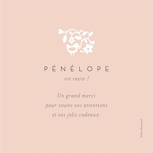 Carte de remerciement Petite comptine photo rose - Page 2
