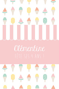 Carte d'anniversaire fille ice cream photo rose