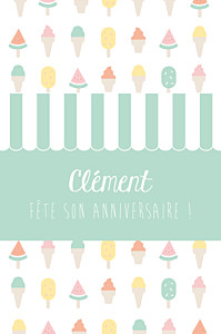 Carte d'anniversaire blanc ice cream photo vert d'eau