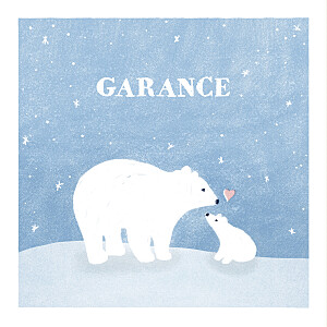 Faire-part de naissance animaux ours polaire 4 photos bleu