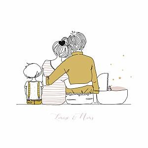 Faire-part de naissance étoile lovely family 2 enfants 3photos fille frère