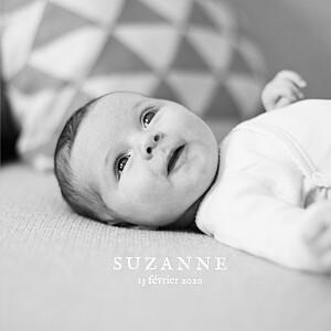 Faire-part de naissance design ma perle 3 photos (dorure) blanc
