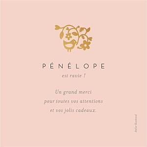 Carte de remerciement dorée petite comptine photo (dorure) rose