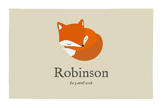 Faire-part de naissance Renard 5 photos 4p  beige & orange