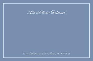 Carte de correspondance bleu chic liseré bleu