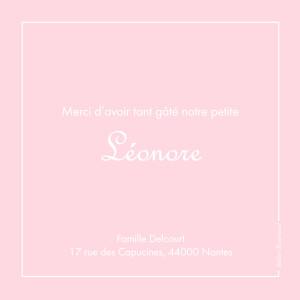 Carte de remerciement Merci classique liseré photo rose layette