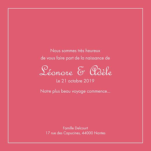 Faire-part de naissance Classique liseré jumeaux photos rose grenadine - Page 3