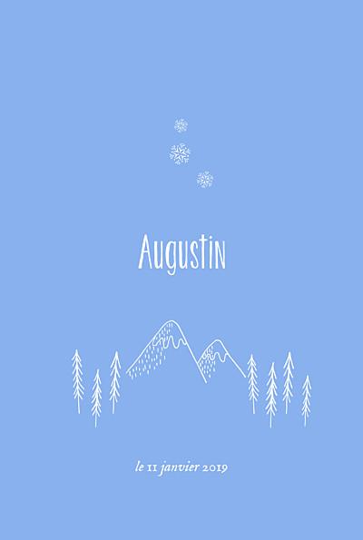 Faire-part de naissance Petites montagnes photo rv bleu finition