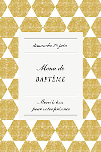 Menu de baptême original toile de lin jaune