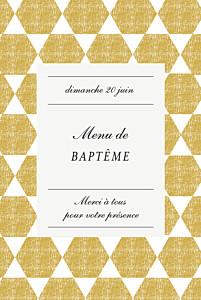 Menu de baptême vintage toile de lin jaune