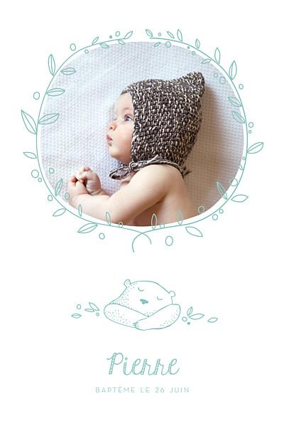 Faire-part de baptême Petit ours photo vert d'eau finition