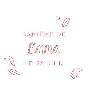 Etiquette de baptême rose petit ours rose