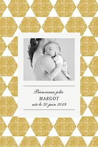 Faire-part de naissance Toile de lin portrait jaune