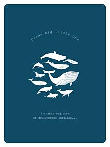 Affichette animaux baleine extraordinaire bleu