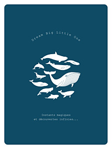 Affichette mixte baleine extraordinaire bleu