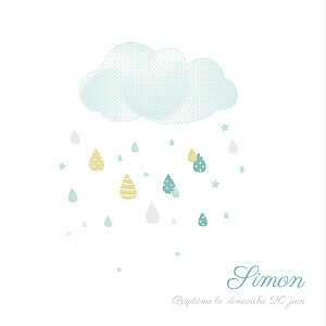 Faire-part de baptême eglise tombe la pluie bleu
