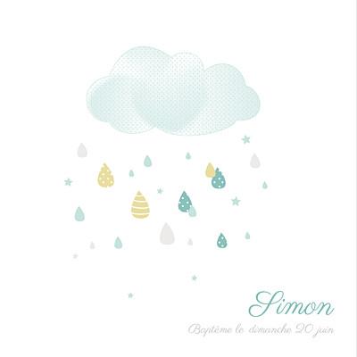 Faire-part de baptême Tombe la pluie bleu finition