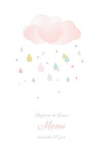Menu de baptême original tombe la pluie rose