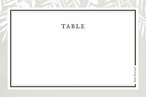 Marque-table mariage marron feuillage gris