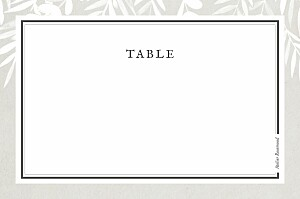 Marque-table mariage marron feuillage gris