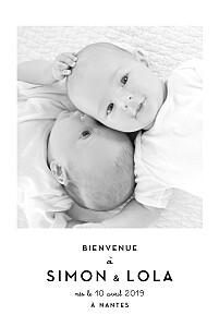 Faire-part de naissance Original 2 photos jumeaux blanc