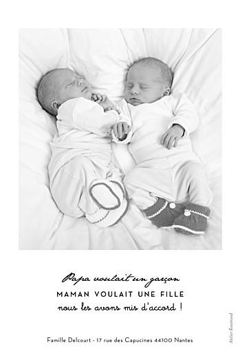 Faire-part de naissance Original 2 photos jumeaux blanc - Page 2