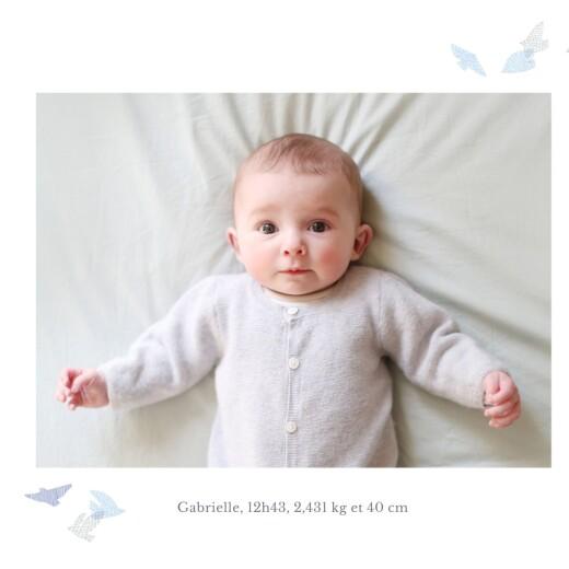 Faire-part de naissance Envolée d'oiseaux jumeaux bleu - Page 2