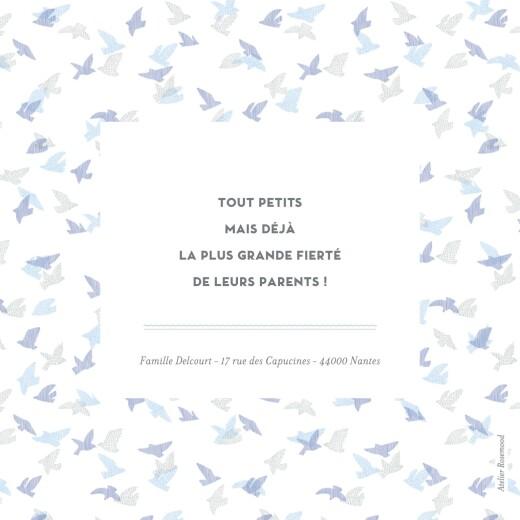 Faire-part de naissance Envolée d'oiseaux jumeaux bleu - Page 4