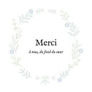 Carte de remerciement dorée merci douceur champêtre dorure bleu