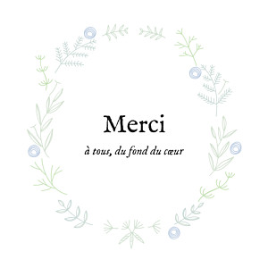 Carte de remerciement dorure merci douceur champêtre dorure bleu