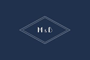 Carte de correspondance bleu monogramme bleu nuit