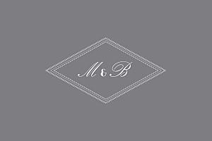 Carte de correspondance gris monogramme gris foncé
