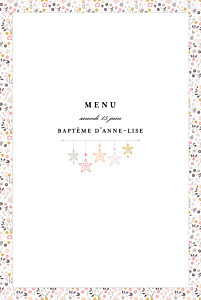 Menu de baptême rose liberty origami étoiles photo rose
