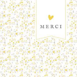 Carte de remerciement jaune petit liberty cœurs (dorure) jaune