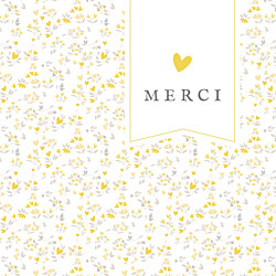Carte de remerciement original petit liberty cœurs (dorure) jaune