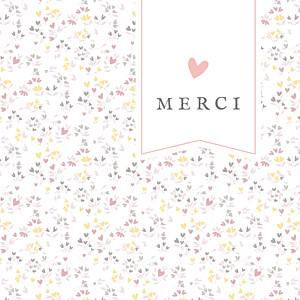 Carte de remerciement rose petit liberty cœurs (dorure) rose