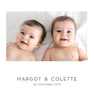 Faire-part de naissance Élégant cœur jumeaux (dorure) blanc