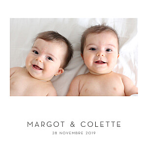 Faire-part de naissance coeurs élégant cœur jumeaux (dorure) blanc