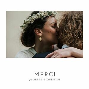 Carte de remerciement mariage tous genres élégant cœur (dorure) blanc