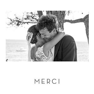 Carte de remerciement mariage argentée petit élégant cœur (dorure) blanc