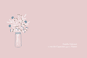 Carte de correspondance rose instant fleuri rose