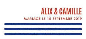 Etiquette de mariage orange marinière bleu & orange