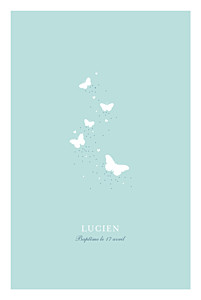 Menu de baptême avec photo papillons bleu