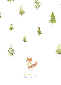 Livret de messe renard aquarelle blanc