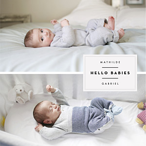 Faire-part de naissance tradition ecusson chic jumeaux 3 photos blanc