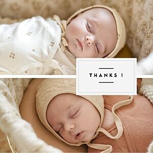 Carte de remerciement tradition petit écusson chic jumeaux blanc
