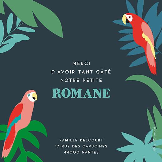 Carte de remerciement Petits perroquets des îles bleu nuit - Page 2