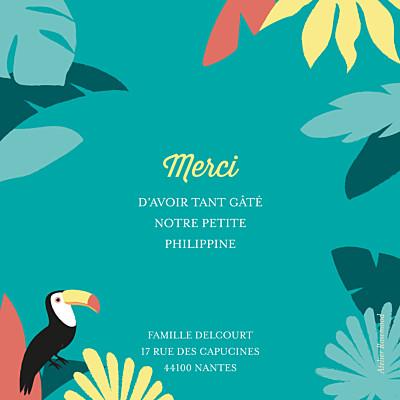 Carte de remerciement Petits toucans d'amazonie photo bleu finition