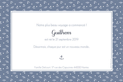 Faire-part de naissance Navy chic 1 photo bleu finition
